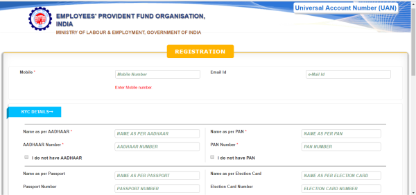 Registration form- Section 1