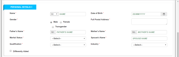 Registration form- Section 2